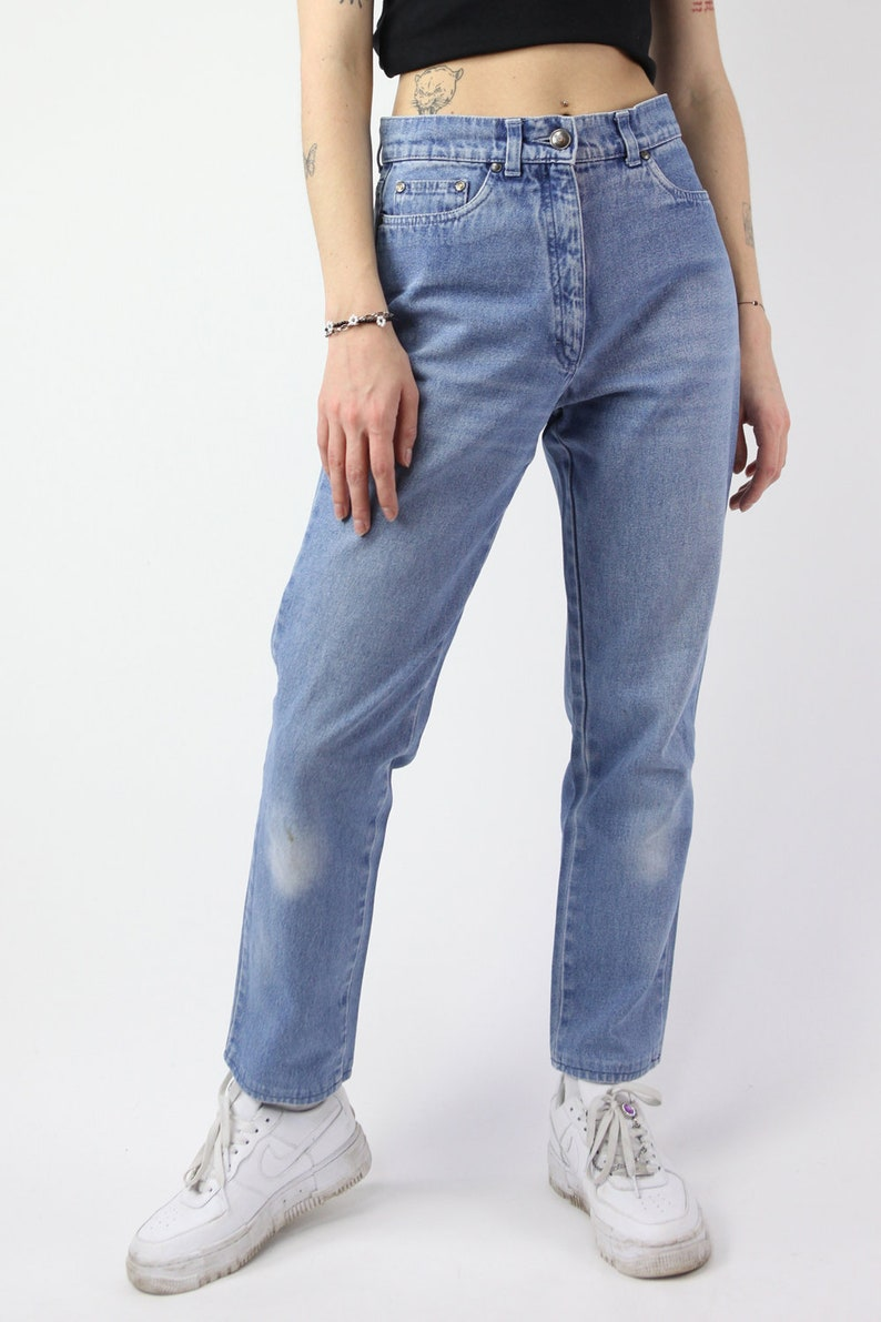 Vintage 90/'s High Waist Mom Jeans in Blue size S