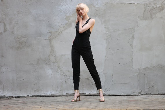 Vintage Evening Suede Leather Jumpsuit in Black