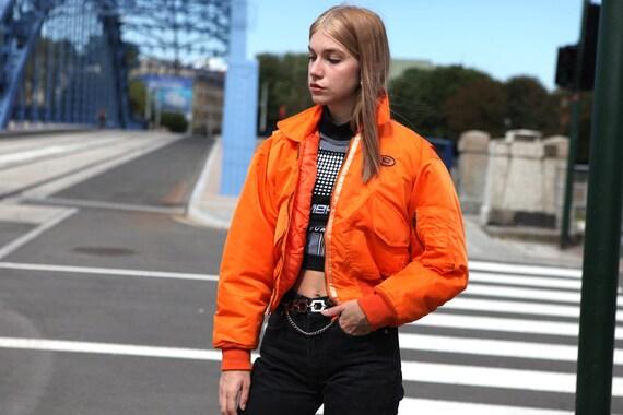 Y2K Rave Techno Bomber Jacket in Neon Orange - image 1