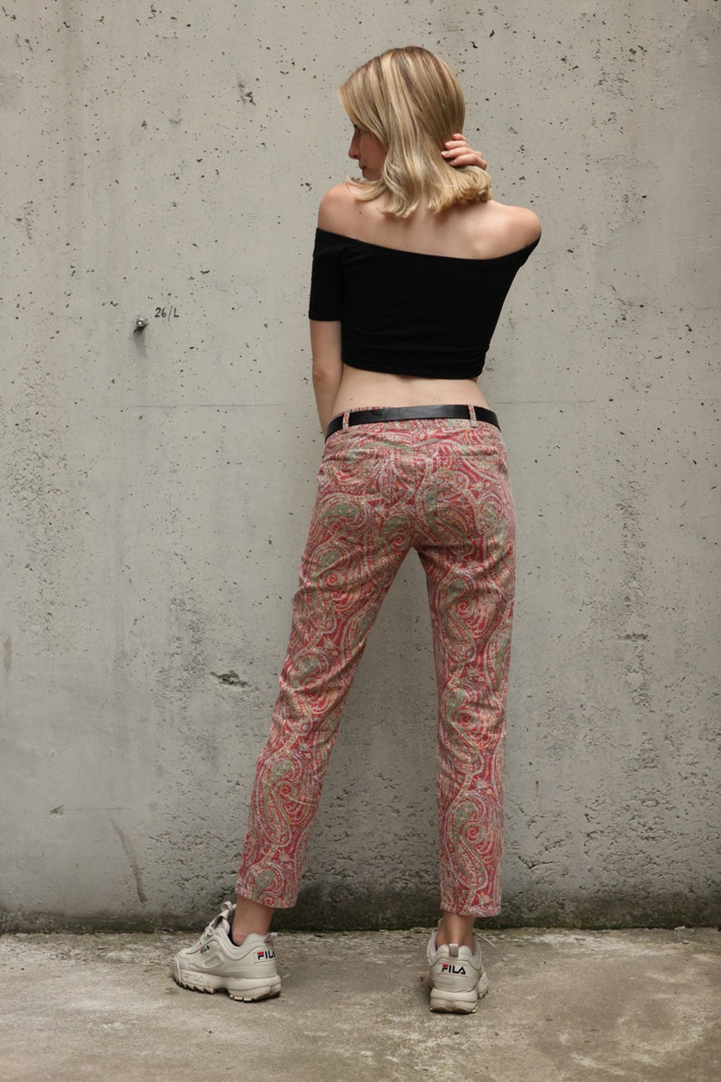Vintage Graphic Patterned Low Rise Trousers