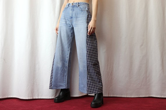 Reworked High Waist Wide Leg Jeans in Blue size XS