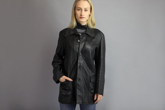 Vintage 80's Leather Jacket in Black size M