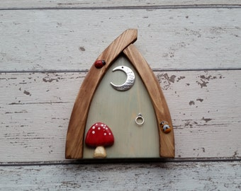 Outside/Indoor garden Fairy Door Elf Door Rosemary/Pale Green Range Beautiful Handmade Fairy Garden Door Magical Portal