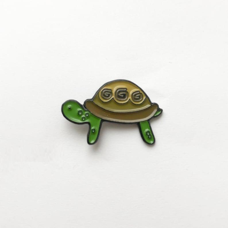 Tortoise  enamel pin / badge with original drawing image 1