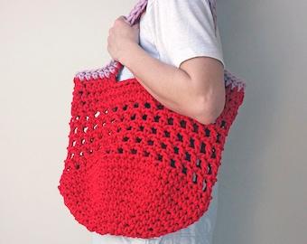 net shopper bag, large red bag, eco tote bag, summer holiday bag, rope shoulder bag, beach bag, knitted market bag, string style shopper