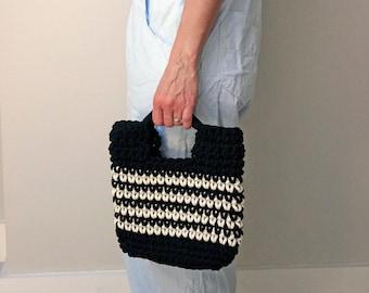 small woven handbag, black and white crochet bag, eco rope bag, summer holiday bag, boho style  bag, top handle bag, day to evening bag