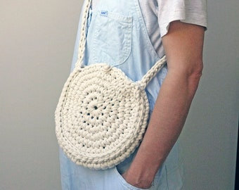 circle rope bag, natural colour bag, summer bag, cross body purse, eco handbag, small shoulder bag, woven round bag, crochet textile bag