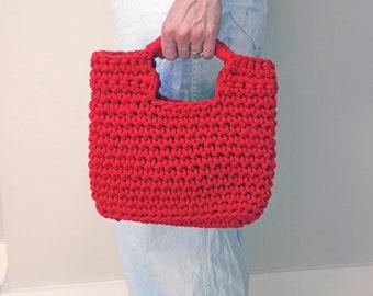 red crochet handbag, woven handbag, knitted bag, rope summer bag, small handbag, eco summer holiday bag, top handle bag, day to evening bag