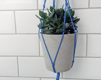 colour hanging planter, blue plant hanger, recycled rope planter, indoor planter, modern macrame, eco gift, minimalist planter, modern home
