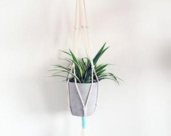 natural hanging planter, modern macrame planter, eco rope planter, wall hung planter, ceiling hung planter, medium indoor hanging planter