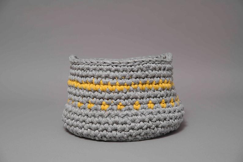 Small storage basket grey and yellow crochet basket bathroom image 0