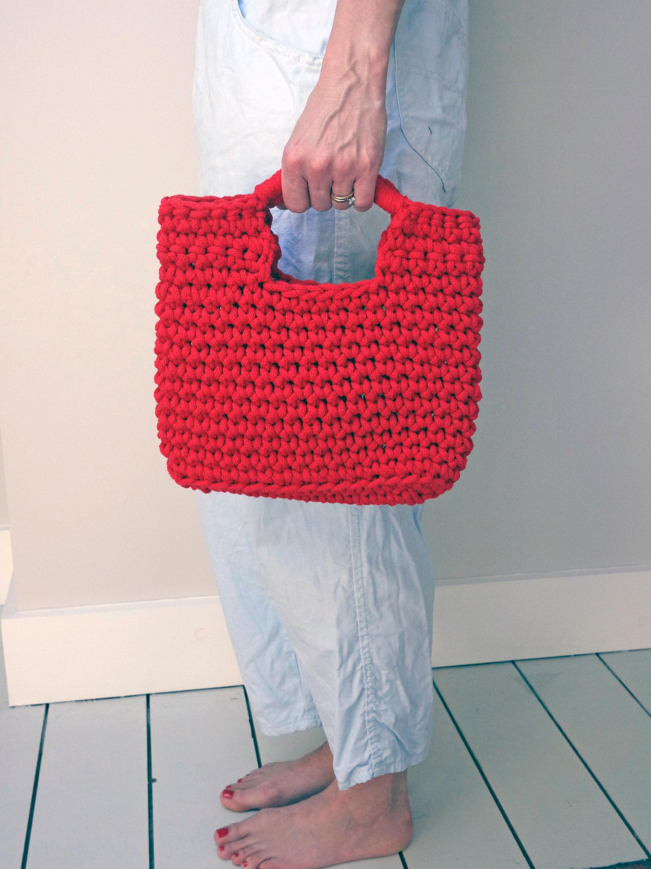 be6652b28e30 red crochet handbag woven handbag knitted bag rope summer