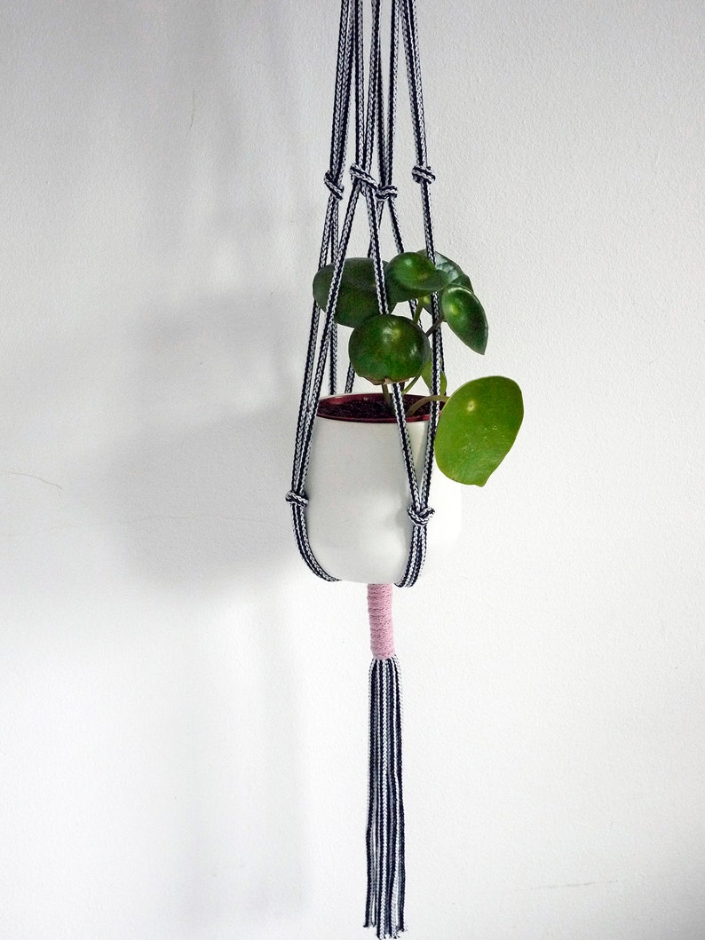 modern macrame hanging planter houseplant hanger eco rope image 0