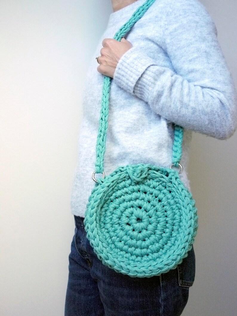 Crocheted circle bag cross body bag small circular handbag image 0