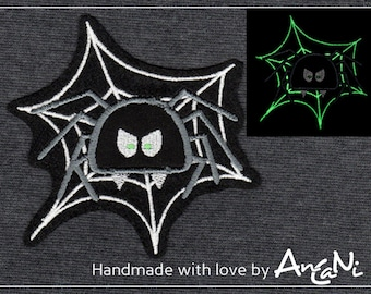 Patch spider. embroidered fabric - application spider web. night-lit for Halloween, birthday, schooling. School bag