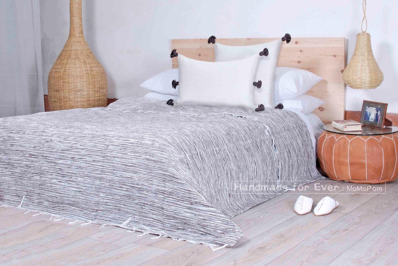 couverture en coton marocaine 100 coton naturel tiss la etsy. Black Bedroom Furniture Sets. Home Design Ideas