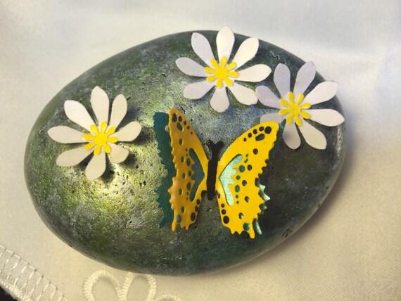 Butterflywhite flowerspainted stonepainted rockpaper etsy image 0 mightylinksfo