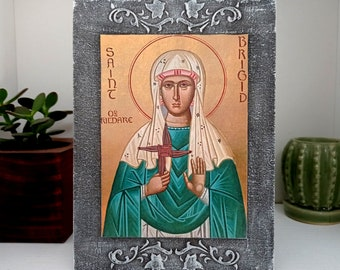 Saint Brigid of Kildare, St Brigid Catholic Icon, Saint Artwork, Irish Saints Wall Decor, Catholic Wall Art, Catholic Gift, Celtic Tradition