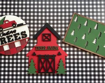 Farm fresh Christmas trees sign, Christmas tiered tray decor, tiered tray decor, tiered tray signs, Christmas signs
