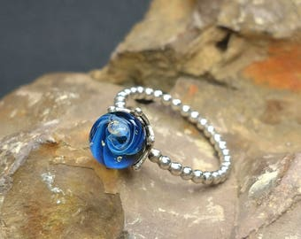 Sterling silver blue galaxy ring lampwork jewelry glass space