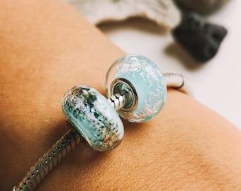 Bloom artisan sterling silver european bracelet big hole bead venetian murano glass lampwork