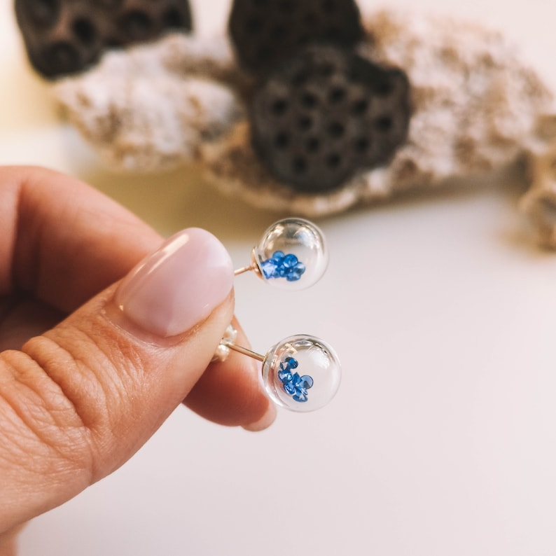 artisan handmade jewelry cubic zirconia Sterling silver stud post earrings with blown murano glass