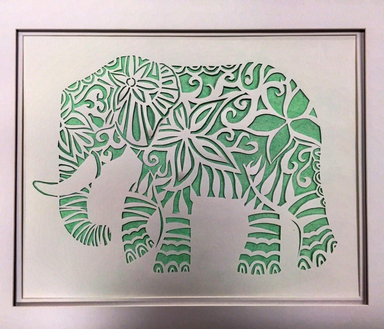 Cutie Parachuting Elephant Signed Art Print