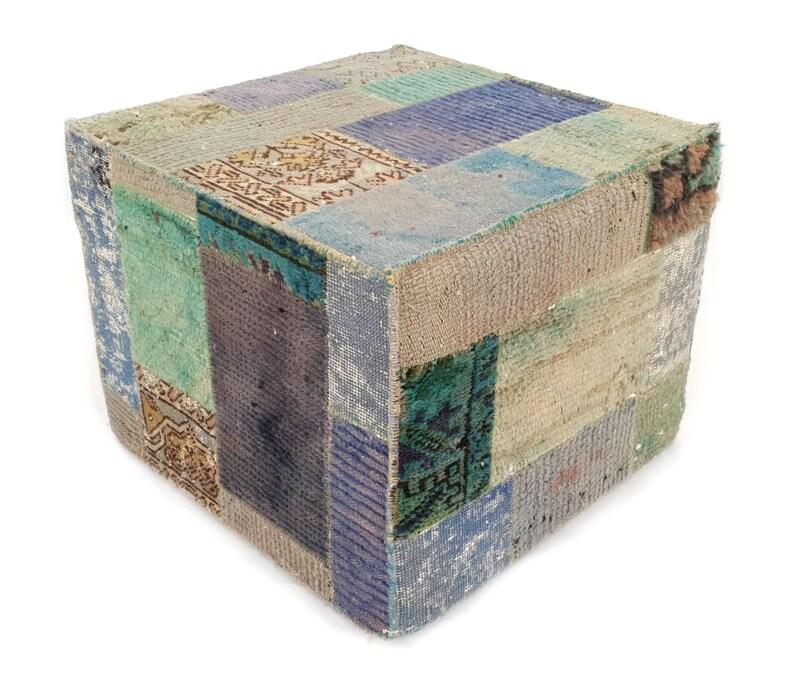 Footstool Square Poufs Patchwork Kilim Pouf Vintage Moroccan Pouffe Square Blue Accent Seating Ottoman Square Pouf Ottoman Cube