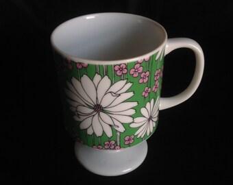 Sweet Vintage Retro-Mod, Pink & Green Floral 8oz. Footed Pedestal Coffee Tea Mug Cup