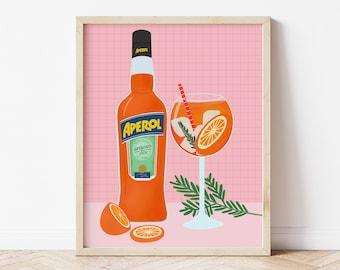 Aperol Spritz Illustration, Aperol Art Print, Cocktail Drinks Art Print, Bar Wall Art, Pink Aperol Spritz Print, Fun Kitchen, Aperol Lover