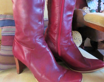 9f21f39bc3 soft leather boots, red, side zipper, knee high, size 9B Charles David,  leather soles, high heels, hipster fashion, WOW