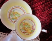 gorgeous and rare Stafford tea cup and saucer set, country cottage scene, yellow and white, excellent condition, 1930 39 s, collectible