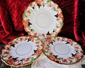Victorian handpainted china plates, 1800s imari style design, floral, no markings, ridged swirls, excellent condition,1 server, 2 lunchplate