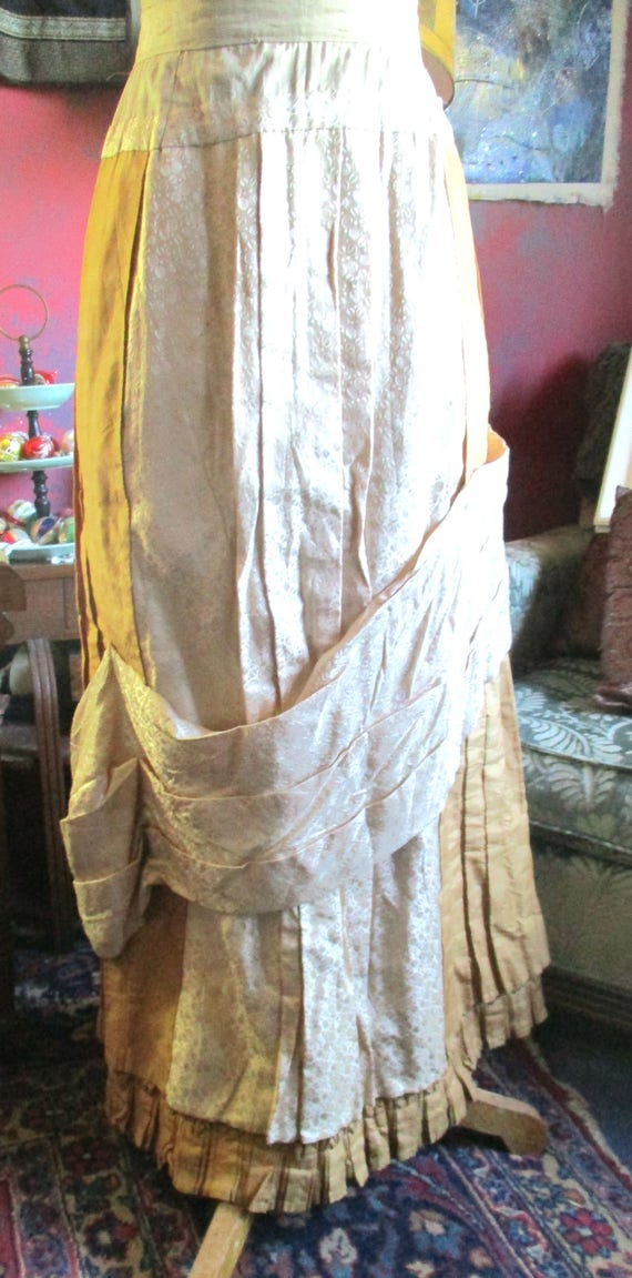 Victorian silk skirt, 1800's,creamy french peau d… - image 1