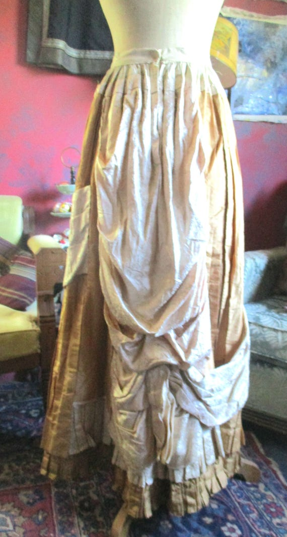 Victorian silk skirt, 1800's,creamy french peau d… - image 2