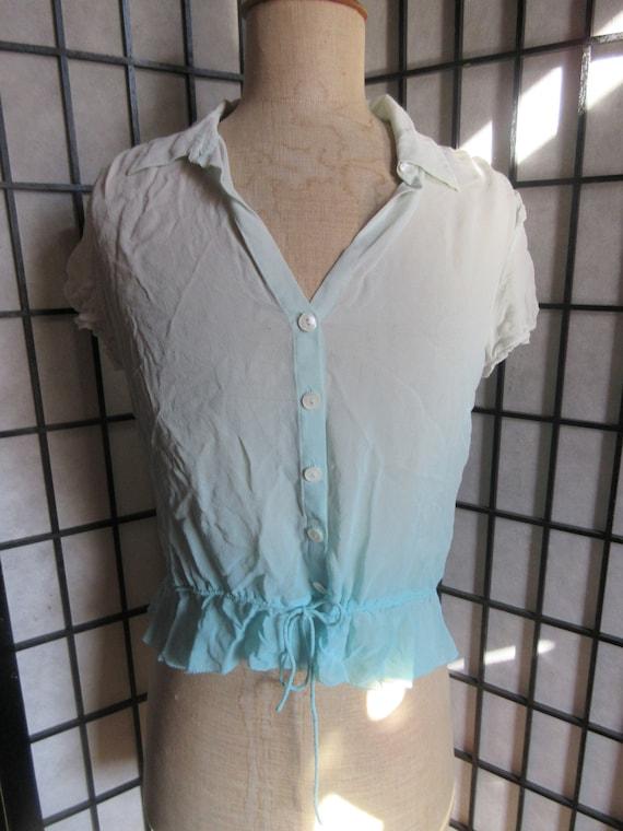 graduated blues silk chiffon summer blouse Banana Republic festival blouse,excellent condition short sleeves,boho drawstring waist