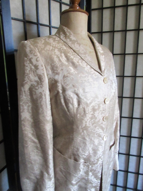 womans silk suit, J Peterman, 1990's, beautiful br