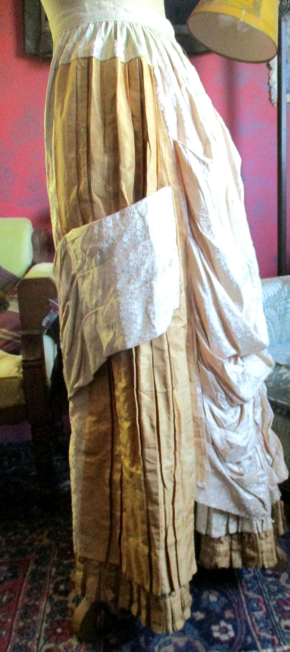 Victorian silk skirt, 1800's,creamy french peau d… - image 5