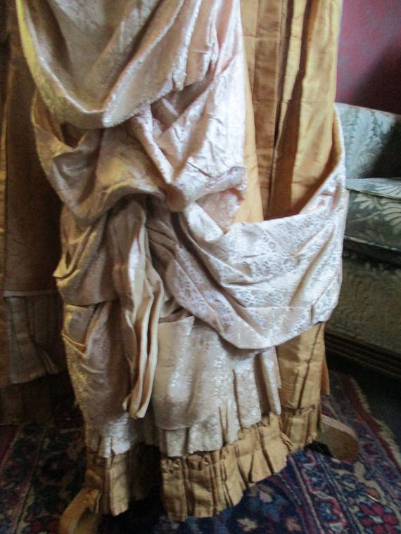 Victorian silk skirt, 1800's,creamy french peau d… - image 4