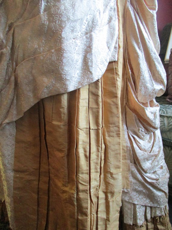 Victorian silk skirt, 1800's,creamy french peau d… - image 3