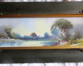 unusual Edwardian landscape, reverse painted glass over watercolor, 3D, country scene, lake trees, original ornamented frame, circa 1900