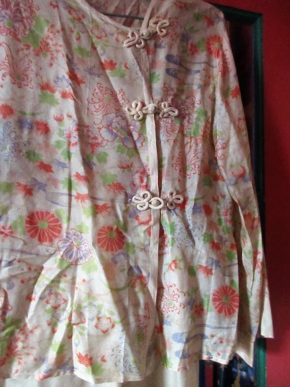 silk beach pajamas, 1920's/30's, chinese styling l