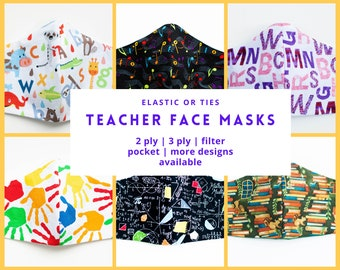 TEACHER Face Mask Teacher Gift Alphabet Science Math Algebra Geometry Librarian Book Lover Music Art School with Nose Wire Washable Reusable