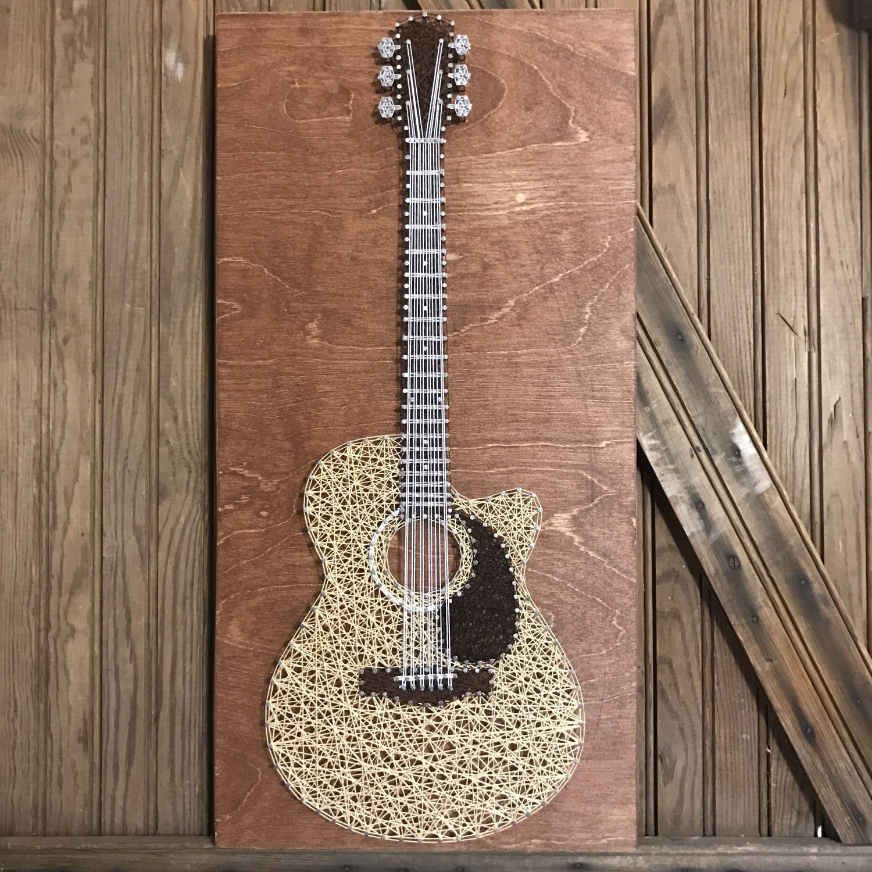 acoustic guitar string art etsy. Black Bedroom Furniture Sets. Home Design Ideas