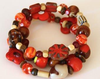 Bracelet - Earthy Red Beaded Bracelet