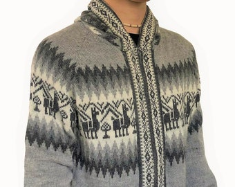 Andean Sweater One size White Winter Sweater Zipper Sweater Wool Cardigan Hoodie unisex Soft Pullover Ethical Clothes Alpaca Sweater