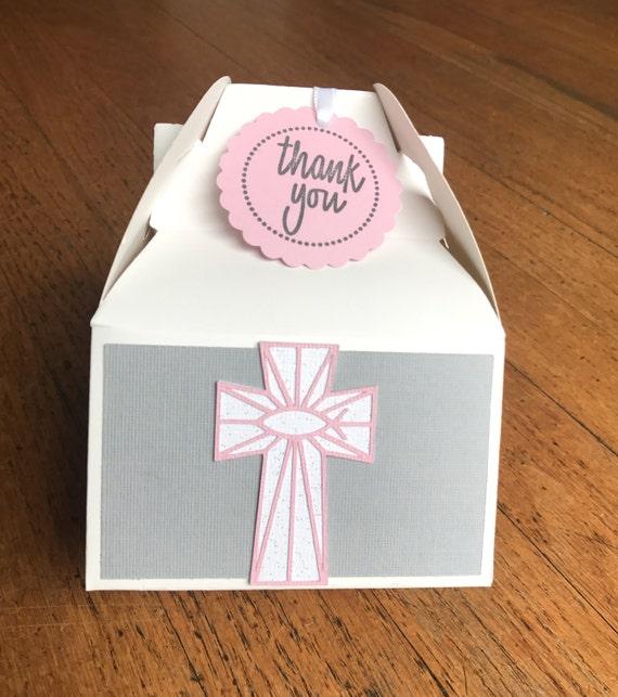 10 Rustic Pink /& White Stripes Cross Favor Boxes wBurlap Pouch Insert Dessert Table Decor Christening Baptism 1st Communion Favor