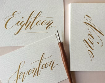 Simple Potato Gold Calligraphy Table number, Gold Wedding table number,