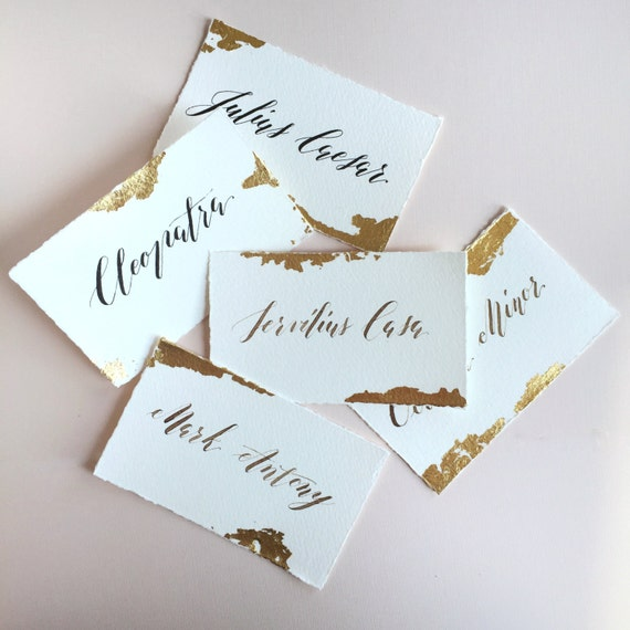 Hand cut /& painted watercolor II Orangerose Style gold ink place card event escort card wedding escort card