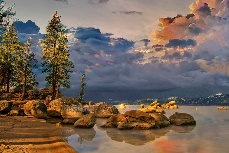 Lake Tahoe Nevada Sand Harbor Sunrise Boulders Home image 0